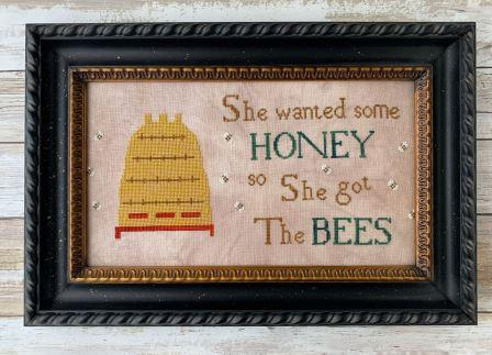 Lucy Beam Love in Stitches - She Wanted Honey-Lucy Beam Love in Stitches - She Wanted Honey, beehive, bees, cross stitch