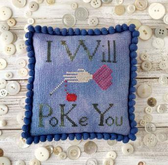 Lucy Beam Love in Stitches - I Will Poke You-Lucy Beam Love in Stitches - I Will Poke You, heart in hand, needle, cross stitch. pin cushion, 2021 NEEDLEWORK EXPO RELEASE,