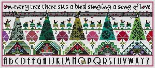 Long Dog Samplers - Dawn Chorus - Cross Stitch Pattern-Long Dog Samplers, Dawn Chorus, trees, songs, love song, Cross Stitch Pattern