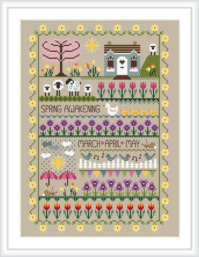 Little Dove Designs - Seasons Collection - Spring Awakening-Little Dove Designs - Seasons Collection - Spring Awakening, band samplers, houses, springtime, flowers, sheep