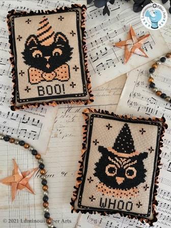 Luminous Fiber Arts - Boo Whoo-Luminous Fiber Arts - Boo Whoo, Halloween, bats, owl, black cat, cross stitch