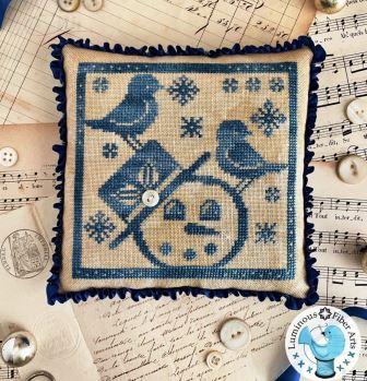 Luminous Fiber Arts - Gathering Snowflakes-Luminous Fiber Arts - Gathering Snowflakes, snowman, bird, winter, blue, pincushion, cross stitch