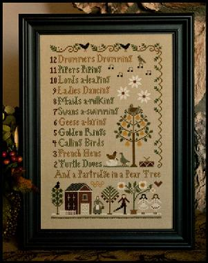 Little House Needleworks - 12 Days of Christmas-Little House Needleworks - 12 Days of Christmas, Christmas advent, song, winter, gifts, cross stitch