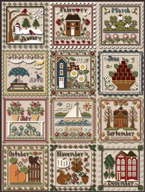 Little House Needleworks - Months of the Year (formerly Sampler Months)-Little House Needleworks - Months of the Year, January, February, March, April, May, June, July, August, September, October, November, December, calendar, cross stitch