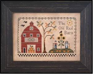 Little House Needleworks - The Old Red Barn-Little House Needleworks,  The Old Red Barn, country, farm, animals, farmer, farmers wife, sunflowers, barn Cross Stitch Pattern