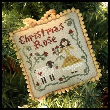 Little House Needleworks - The Sampler Tree - Part 04 - Christmas Rose-Little House Needleworks - The Sampler Tree, Christmas Rose, Christmas tree ornament, sheep,girl, Cross Stitch Pattern