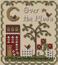 Little House Needleworks - Sun, Moon and Stars - Part 1 of 3 - Over the Moon Thread Pack-Little House Needleworks,  Sun, Moon and Stars, Beach Cottage stitchers, Part 1 of 3, Over the Moon, night, stars, house, dogs, Cross Stitch Thread Pack,