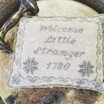 Lindsay Lane Designs - Welcome Little Stranger-Lindsay Lane Designs - Welcome Little Stranger, baby pillow, birth announcement, babys room, cross stitch