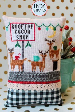 Lindy Stitches - Rooftop Cocoa Shop-Lindy Stitches - Rooftop Cocoa Shop, reindeer, Santa Claus, Christmas, chimney, cross stitch