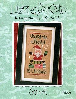 Lizzie Kate - 2012  Santa - Unwrap the Joy-Lizzie Kate, Unwrap the Joy,  Santa 12, Santa Claus, presents, hot cocoa, snowflakes, gifts, Cross Stitch Pattern