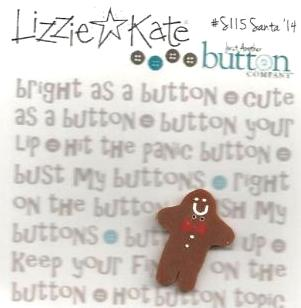 Just Another Button Company - Lizzie Kate Santa \'14 Button-Just Another Button Company, Lizzie Kate Santa '14 Button, gingerbread man, Christmas, annual Santa,