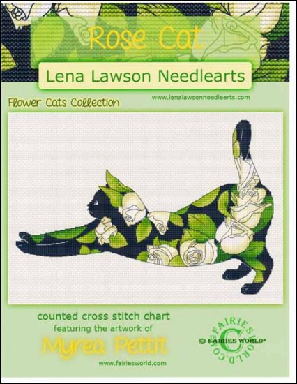 Lena Lawson Needlearts - Flower Cats Collection - Rose Cat - Cross Stitch Chart-Lena Lawson Needlearts, Flower Cats Collection, Rose Cat, garden, flowers, felines, Cross Stitch Chart
