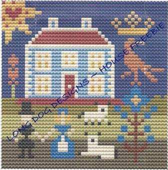Long Dog Designs - House-Long Dog Designs - House, primitive, home, couple, sheep, trees,