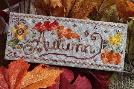 Luhu Stitches - Autumn Fling-Luhu Stitches - Autumn Fling, fall, pumpkin, leaves, cross stitch
