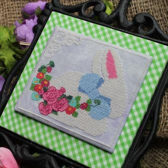 Luhu Stitches - Blue Bow Bunny-Luhu Stitches - Blue Bow Bunny, rabbit, spring, flowers, cross stitch