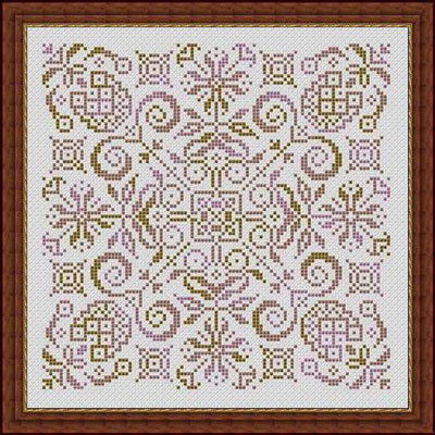 Whispered by the Wind - Largo - Cross Stitch Pattern-Whispered by the Wind, Largo, flowers, pineapples, welcome, pillow top, lavender, green, pink, Cross Stitch Pattern