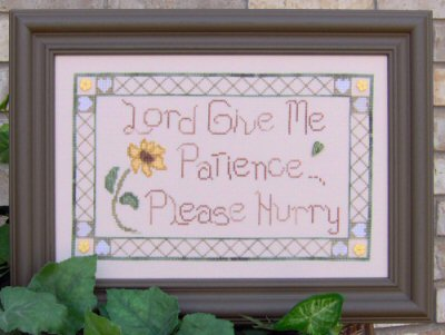 Designs by Lisa - Lord, Give Me Patience - Cross Stitch Pattern