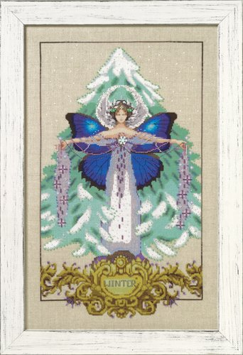 Mirabilia Designs - Winter Love-Mirabilia Designs - Winter Love, snow, fairy, trees, cross stitch, beads,