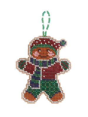 Mill Hill - Gingerbread Lad (2021)-Mill Hill - Gingerbread Lad 2021, ornament, Christmas, Beaded Ornaments, Holiday, beading, cross stitch, Christmas tree,