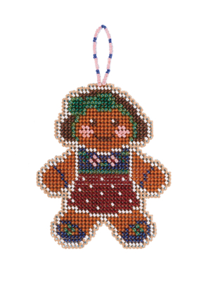 Mill Hill - Gingerbread Lass (2021)-Mill Hill - Gingerbread Lad 2021, ornament, Christmas, Beaded Ornaments, Holiday, beading, cross stitch, Christmas tree,