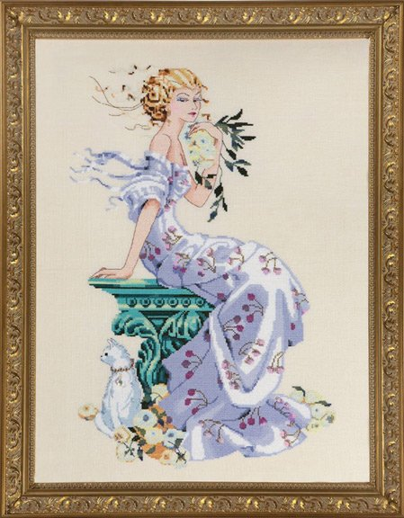 Mirabilia Designs - Florentina-Mirabilia Designs - Florentina, girl on bench, flowers, kitty, Cross Stitch Pattern