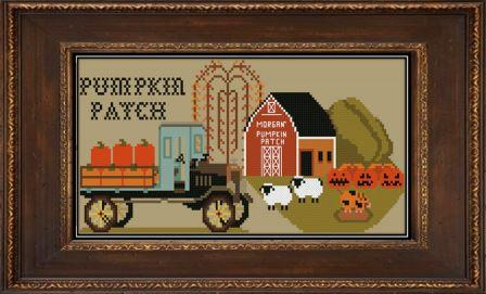 Twin Peak Primitives - Morgan's Pumpkin Patch-Twin Peak Primitives - Morgans Pumpkin Patch, farm, pumpkins, barn country, cross stitch