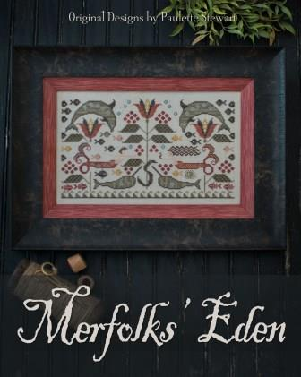 Plum Street Samplers - Merfolk's Eden-Plum Street Samplers - Merfolks Eden, mermaid, ocean, mermen, fishes, cross stitch, eel,  serpent,