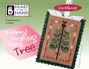 Heart in Hand Needleart - Merrymaking Mini - Tree-Heart in Hand Needleart - Merrymaking Mini - Tree, Christmas Tree, ornament, cross stitch
