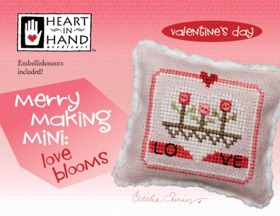Heart in Hand Needleart - Merrymaking Mini Love Blooms-Heart in Hand Needleart - Merrymaking Mini Love Blooms, Valentines Day, love, friendship, cross stitch