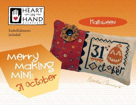 Heart in Hand Needleart - Merry Making Mini - 31 October-Heart in Hand Needleart - Merry Making Mini - 31 October, Halloween, pumpkins, fall, cross stitch