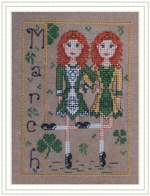 Whispered by the Wind - Elves of the North Pole - Part 03 of 12 - Miss March - Cross Stitch Pattern-Whispered by the Wind - Elves of the North Pole - Miss March - luck, St Patricks Day, 4 leaf clover, Cross Stitch Pattern