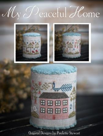 Plum Street Samplers - My Peaceful Home-Plum Street Samplers - My Peaceful Home, PIN CUSHION, house, sheep, birds, cross stitch
