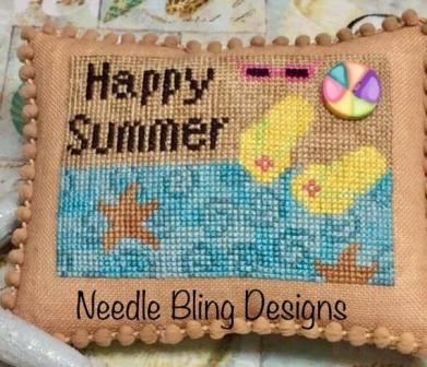 Needle Bling Designs - Happy Summer-Needle Bling Designs - Happy Summer, flip flops, ocean, sand, starfish, sunglasses, sunshine, cross stitch