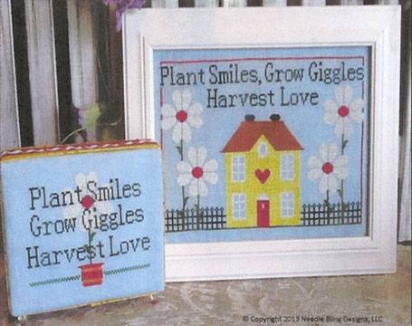 Needle Bling Designs - Grow Giggles-Needle Bling Designs , Grow Giggles,Plant Smiles, Grow Giggles, Harvest Love, flowers, Cross Stitch Pattern