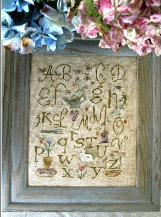 Nikyscreations - Alphabet Garden - EXCLUSIVE RELEASE-Nikyscreations - Alphabet Garden, Sampler,cross stitch, bunny,