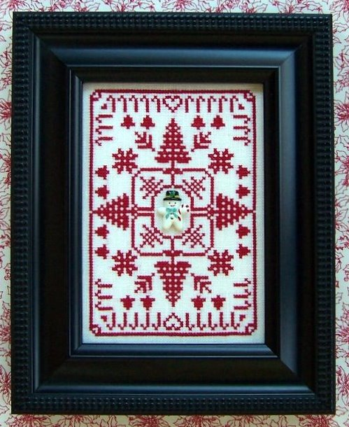 The Needle's Notion - Redwork Winter-The Needles Notion - Redwork Winter, snowman, snow, ornament, cross stitch