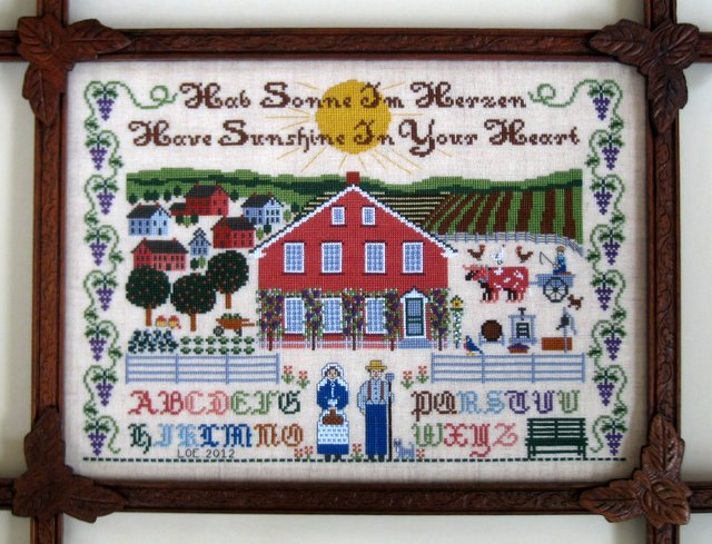 The Needle's Notion - Amana Inspirations - Cross Stitch Pattern-The Needle's Notion,Amana,Inspirations, Cross,Stitch,Pattern,german, amish, farm, barn, sampler, cows, farmer, fields,