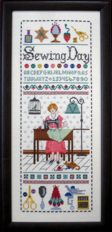 The Needle's Notion - Sewing Day - Cross Stitch Chart-The Needle's Notion,Sewing,Day,Cross, Stitch,Chart, sewing machine, birdcage, thimble, scissors, thread, sampler,bobbin, thread winder, pin cushion, needles,woman, lamp, kitty,
