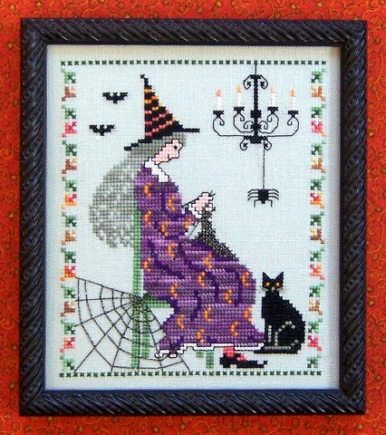 The Needle's Notion - Knit Witch - Cross Stitch Pattern-The Needle's Notion, Knit Witch, knitting, black cat, witch, spider webs, spider, chandellier, bats, witch knitting, Cross Stitch Pattern