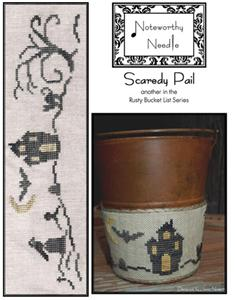Noteworthy Needle - Scaredy Pail-Noteworthy Needle - Scaredy Pail, Halloween, haunted house, bats, crow, cross stitch