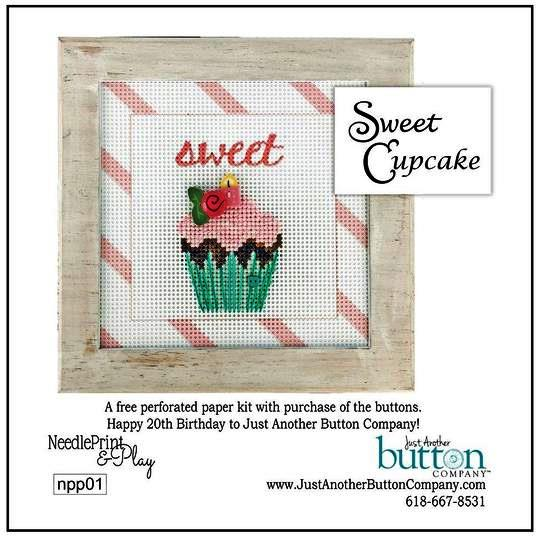 Just Another Button Company - Sweet Cupcake Perforated Paper Kit-Just Another Button Company - Sweet Cupcake Perforated Paper Kit, cross stitch, deserts, birthday, buttons,
