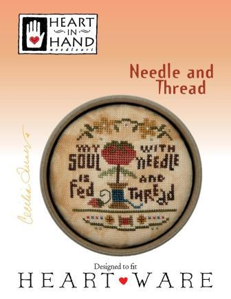 Heart in Hand Needleart - Needle and Thread-Heart in Hand Needleart - Needle and Thread, stitching, tomato, pin cushion, peace, cross stitch