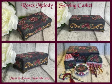 Mani di Donna - Roses Melody - Sewing Casket-Mani di Donna - Roses Melody - Sewing Casket, sewing basket, cross stitch