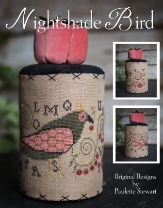 Plum Street Samplers - Nightshade Bird-Plum Street Samplers - Nightshade Bird, drum, tomatoes, solanaceae, plants, cross stitch