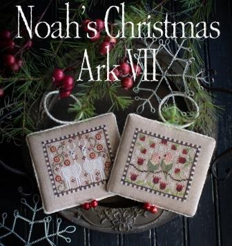Plum Street Samplers - Noah's Christmas Ark VII-Plum Street Samplers - Noahs Christmas Ark VII, LLAMA, LOVEBIRDS, cross stitch, animals,