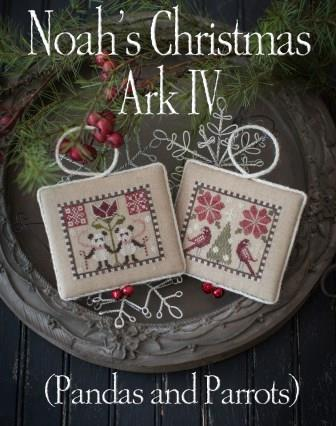 Plum Street Samplers - Noah's Christmas Ark IV-Plum Street Samplers - Noahs Christmas Ark IV, panda bears, parrots, ornaments, Christmas, cross stitch
