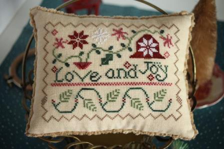 October House - Love and Joy-October House - Love and Joy, Christmas, ornament, quaker, pincushion, flowers, cross stitch