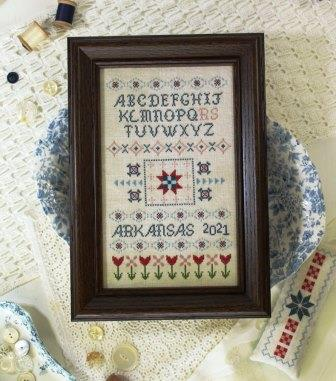 October House - All in a Row-October House - All in a Row, sampler, red, white, blue, quilt, cross stitch, 2021 FALL EXPO RELEASE