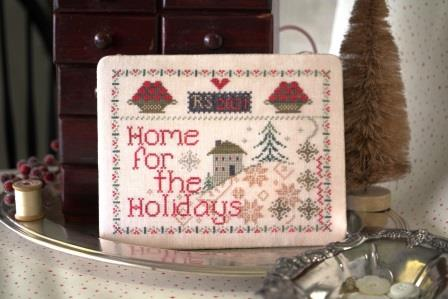 October House - Home for the Holidays-October House - Home for the Holidays, Christmas, quaker, snow, trees, home, family, cross stitch