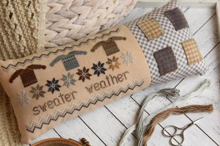 October House - Sweater Weather-October House - Sweater Weather, knit sweater, pin cushion, cross stitch